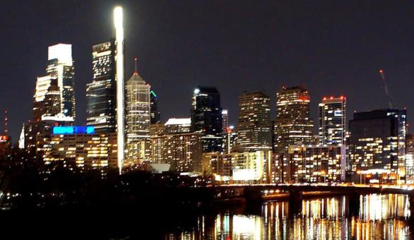 Night Skyline off east river drive